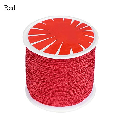 FINCOS 1Roll 0.8mm 45M Braided Cords Chinese Knot Bracelet String Rattail Necklace Thread Satin Silk Cord Wire Nylon Rope Hand Crafts - (Color: Red) ()