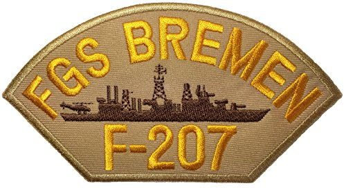 FGS Bremen F-207 Logo Military Navy Brigade Uniform DIY Applique Embroidered Sew Iron on Emblem Badge Costume Patch - Khaki By Ranger Return