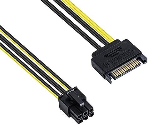 Poppstar - Cable de alimentación de Tarjeta gráfica PCI-Express de 20 cm (Conector de alimentación Sata de 15 Patillas (w) a PCIe de 6 Patillas (m))