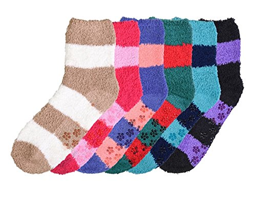 Socks Dot Fuzzy (Mopas Women's Super Soft Anti-Skid Fuzzy Slipper Socks (6 Pairs) (O/S, DStripes))