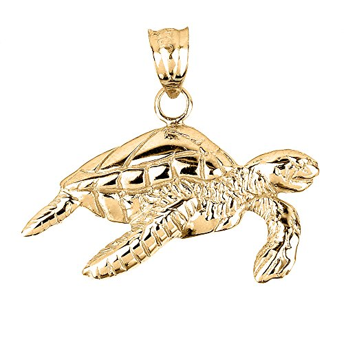 14k Solid Yellow Gold Sea Turtle Charm Pendant