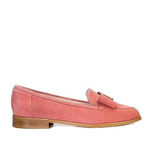 GENNIA Damaris Rosa Palo - Mocasines para Mujer de Piel Ante y con Mini Tacón de 1 cm: Amazon.es: Zapatos y complementos