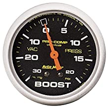 "Auto Meter 5401 Pro-Comp 2-5/8"" 30 in. Hg/20 PSI Liquid Filled Mechanical Vacuum/Boost Gauge"