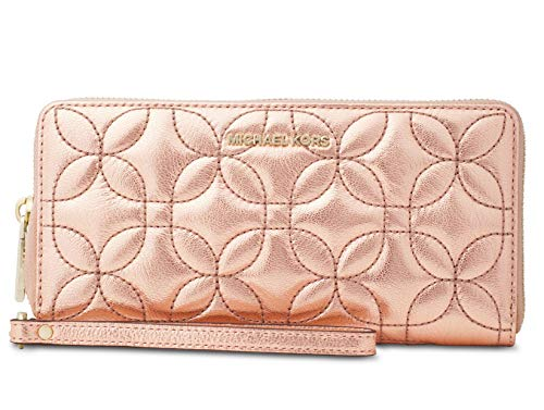 Michael Kors Quilted Travel Continental Wallet Flower Leather New