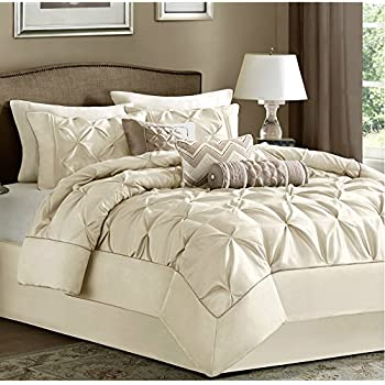 7 Piece Comforter Set Queen Size Ivory Luxury Modern Bedding On Clearance Sale Home