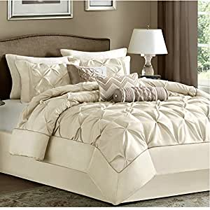 7 piece comforter set queen size ivory luxury modern bedding on clearance sale home. Black Bedroom Furniture Sets. Home Design Ideas