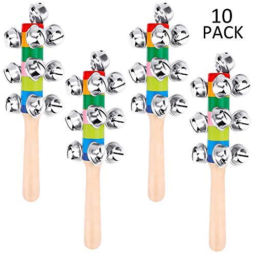 AUGSHY 10 Pcs Vivid Handle Bells,Rainbow Hand Percussion Shaker Rattle Toys ()
