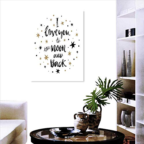 (I Love You Customize Wall Stickers Hand Drawn I Love You to The Moon and Back Quote Stars Valentines Celebration Background Wall Stickers 24