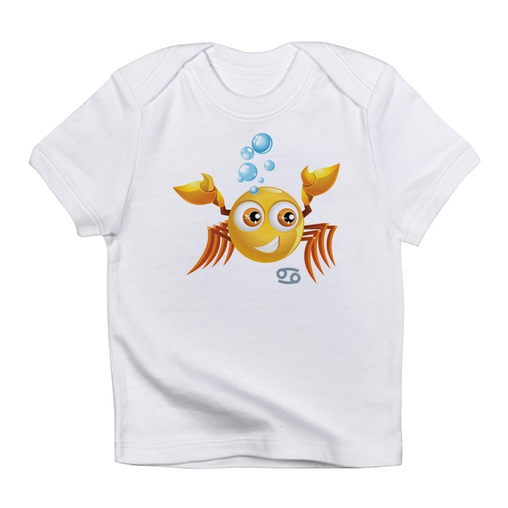 6 To 12 Months Cloud White Truly Teague Infant T-Shirt SmileyFace Zodiac Cancer