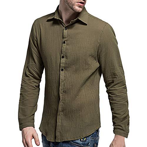 (Men's Baggy Cotton Linen SOID Color Long Sleeve Retro T Shirts Tops Blouse Army)