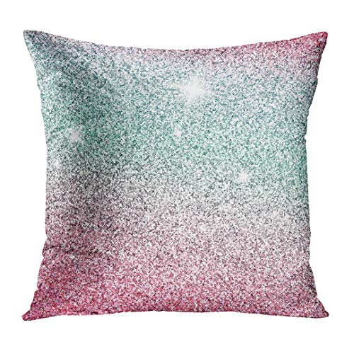 TOMKEYS Throw Pillow Cover Colorful Unicorn Pink Shiny Glam Abstract Glitter Silver Sparkle Decorative Pillow Case Home Decor Square 16x16 Inches Pillowcase