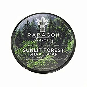 Paragon Shaving Soap – Sunlit Forest – Premium Blend Formula – Tallow and Shea Butter - Thick Lather and Elegant Scent with Only Essential Oils - 4.0 oz