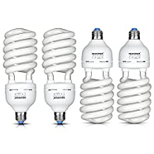 Neewer® 45W 110V 5500K Tri-phosphor Spiral CFL Daylight Balanced Light Bulb in E27 Socket for Photo and Video Studio Lighting(4 Pack)