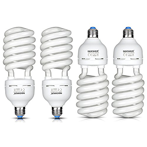 Neewer 4x 45W Energy Saving Tri-BAND Spiral CFL Photo Fluorescent Spiral Daylight Light Bulbs for Photo and Video Studio Lighting(4 Pack) by Neewer