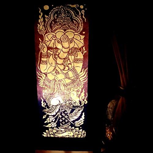 Ganesha India Hindu Purple Handmade Asian Oriental Wood Light Night Lamp Shade Table Desk Art Gift Home Vintage Bedroom Bedside Garden Living Room; Free Adapter; a Us 2 Pin Plug #519 by Apple-Heart (Image #1)