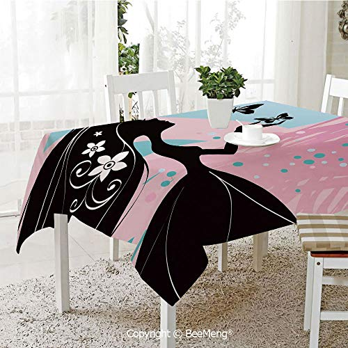 Large dustproof Waterproof Tablecloth,Family Table Decoration,Spring,Silhouette of Madam Butterfly Floral Head in Soft Background Artwork,Black Light Pink Sky Blue,70 x 104 inches