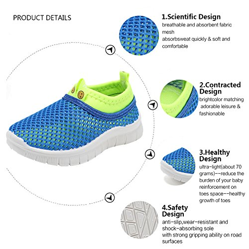 CIOR Kids Light Weight Sneakers AquaShoes Breathable Slip-on For Running Pool Beach Toddler/Little Kid,S633Blue,22 5