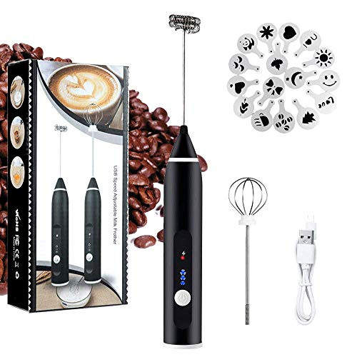 One Touch Milk Frother - Milk Frother Electric, Handheld USB Rechargeable JYSW Gift for Coffee Lovers, 3 Speeds Foam Maker for Lattes, Cappuccino - 2 Stainless Steel Whisks with Extra Coffee Art Stencils & Handbag (Black)