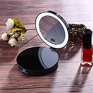 Amazon Com Travel Mirror Lighted Magnifying Mirror 10x