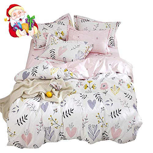 BuLuTu Floral Love Print Girls Duvet Cover Twin White/Pink Cotton Premium Blossom Kawaii Reversible Colorful Kids Bedroom Comforter Cover Bedding Sets for Teen Toddler,Lightweight,Zipper,NO Comforter -