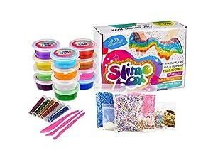 Slime Kit Supplies Fluffy DIY 12 Clear Colors 250 Fruit Slices Girls Toys Fishbowl Unicorn Glitter Pack Foam Beads Balls for Kids