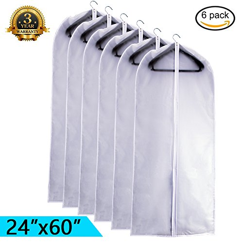 Garment Bags Storage - EANXO Garment Bag for Storage 60 inch Lightweight Clear White PEVA Breathable Winter Coats Bags (Set of 6) with Study Full Zipper for Long Dress Clothes Storage Closet