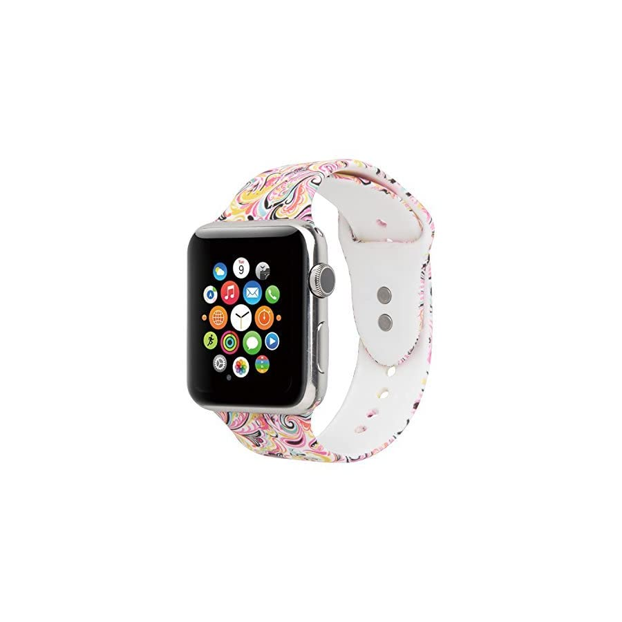 Sport Band For Apple Watch,Choose Proper Color & Size 38MM S/M,38MM M/L,42MM S/M or 42MM M/L,Floraler Soft Silicone Strap Replacement Wristbands For Apple Watch Sport Series 3/2/1