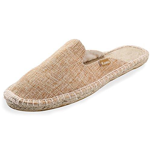 Espadrillas Trama Piatte Pantofole Albicocca Naturale in da Kentti Tela a Uomo 5wPxqH
