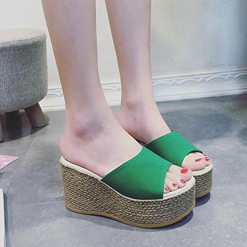 Plattform Komfort Ferse Flatforms Hausschuhe wasserdichte Casual Fashion Sandalen Boden Sommer Wedge green Strand LvYuan Damen Dick Schuhe qA0Ptt