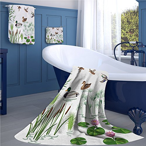 familytaste Rubber Duck Popular bath towel set Lake Animals and Plants with Lily Flowers Reeds Cane in the Pond Nature Park fun hand towels set White Green