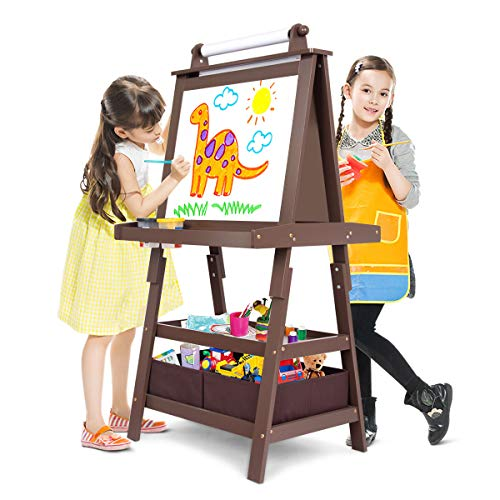 Kidkraft Wood Easel - Costzon Kids Art Easel, 3 in 1 Double Durable Sided Art Easel with Chalk Board & Paper Roll, Two Storey Storage Space with Two Storage Bins, Large Capacity Tool Tray, Espresso