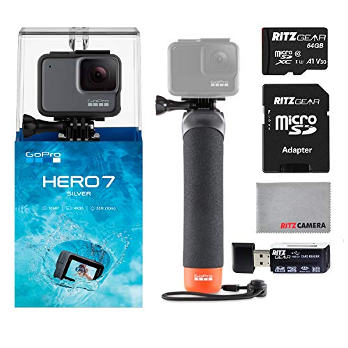 GoPro Hero7 Silver Bundle with GoPro Float Handle, 64GB Memory Card and Ritz Camera Memory Card Reader
