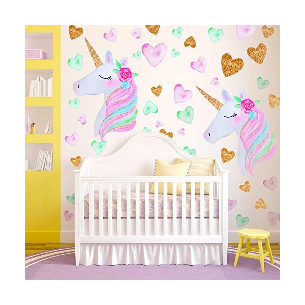 2 Pieces Large Size Unicorn Wall Decal Unicorn Decor Unicorn Wall Stickers Colorful with Heart Flower for Kids Bedroom, Nursery Room, Living Room Decor 7
