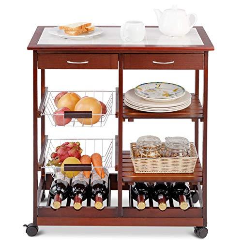 Giantex Rolling Wood Kitchen Trolley Cart Island Shelf w/Storage Drawers Baskets Dining Portable Stand (Purplish Red) - Kitchen Dining Islands