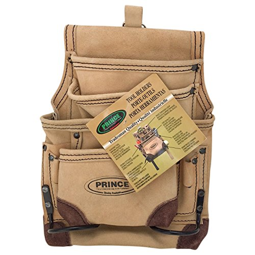 Prince P-1200RC 10 Pocket Suede Leather Tool Pouch with Reinforced Corners and Tunnel Loop