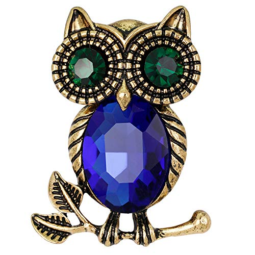 Stylebar Good Luck Owl Branch Brooch Pins Retro Bird Broaches for Women Girls Animal Brooches Sapphire Color Crystal Black Night Eye Vintage Gold Tone