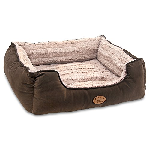 Best Pet Supplies - Premium Faux Leather Polyester Filled Plush Square Bed for Dog and Cat - Large, Dark Brown