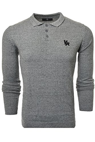 YoungLA Fitted Polo Dress Shirts for Men Long Sleeve Knitted Slim Fit Soft Uniform Jerseys 412 Charcoal Large (Jersey Long Sleeve Polo Shirt)