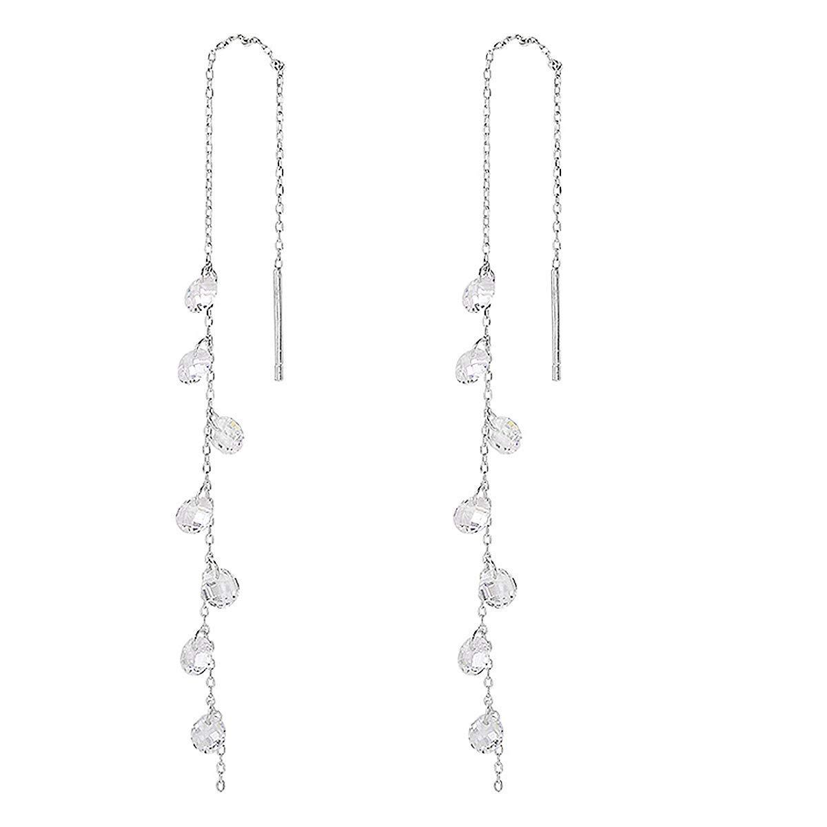 925 Sterling Silver Tassel Drop Earrings Long CZ Droplet Dangle Threader Earrings for Women
