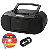 Sony Compact Portable Stereo Sound System Boombox with MP3 CD Player, Digital Tuner AM/FM Radio, Tape Cassette Recorder, Headphone Output & 3.5mm Audio Auxiliary input Jack