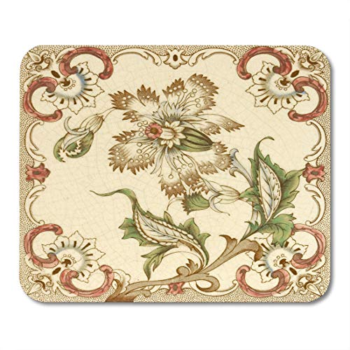 (Boszina Mouse Pads Vintage Ceramic Hand Coloured Victorian Period Aesthetic Design Architectural Panel Antique Mouse Pad for notebooks,Desktop Computers mats 9.5