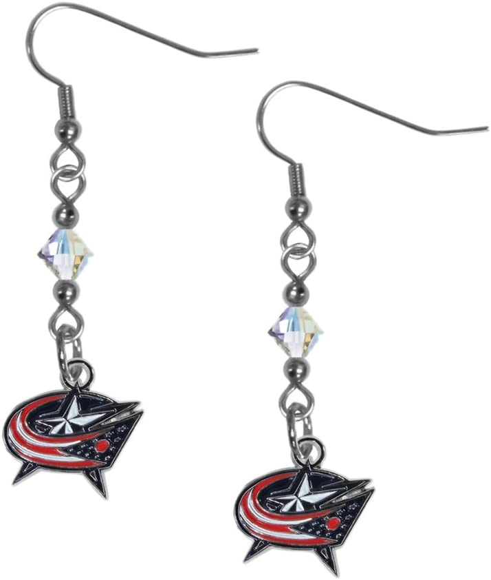 NHL Siskiyou Sports Womens Columbus Blue Jackets Crystal Dangle Earrings One Size Team Color