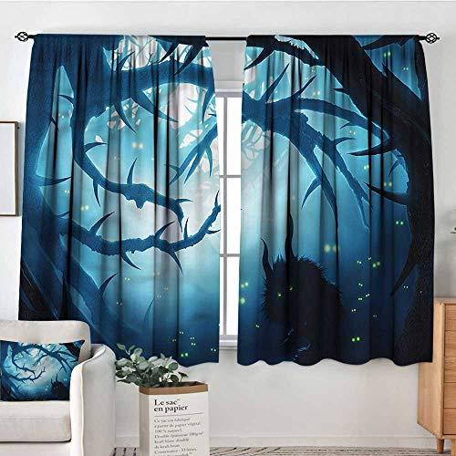 Anzhutwelve Mystic,Kids Decor Indo Curtain Drape Night Forest Halloween 52