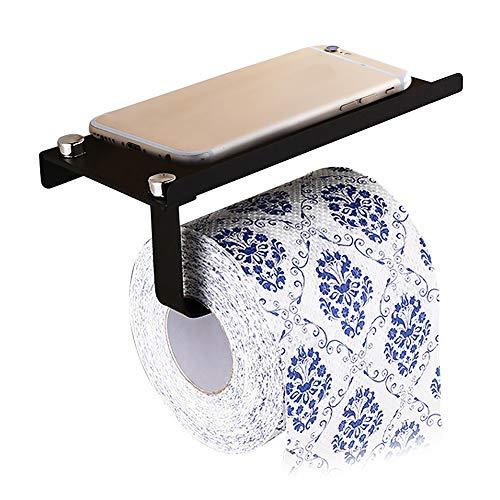 MDX Wall Toilet Paper Holder with Mobile,Bathroom Tissue Holder Storage Shelf Toilet Paper Roll Holder SUS304 Stainless Steel,Bathroom Accessories (Black)