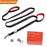 ENJOY PET Dog Leashes for Large Dogs Double Handles, 8 ft Extra Long Lead with Traffic Padded Handles, Heavy Duty Nylon Dog Training Leash (Black)