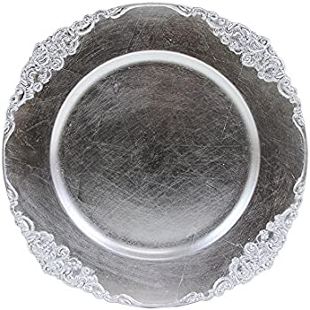 Amazon.com | Koyal Wholesale Vintage Charger Plate, Silver (Pack of ...