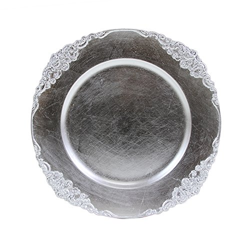 (Koyal Wholesale Vintage Charger Plate, Silver (Pack of 4))