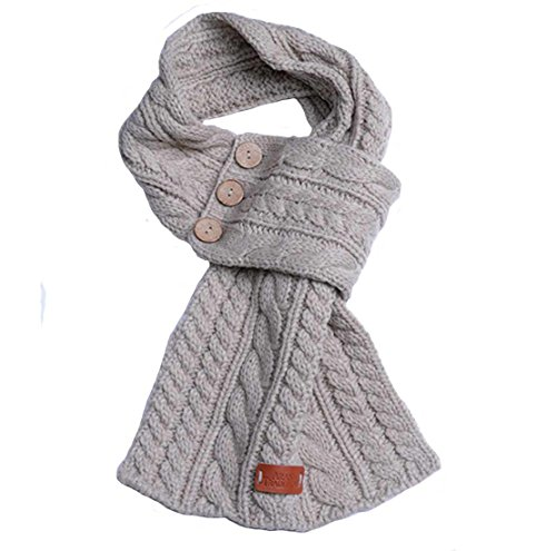 Oatmeal Wrap Scarf With Cable Knitted Design And Three Buttons (Three Button Wrap)