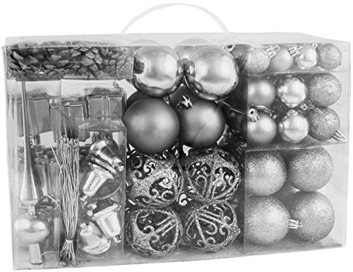 BRUBAKER 102 Pack Assorted Christmas Ball Ornaments - Shatterproof - with Green Pickle and Tree Topper - Designed in Germany - Silver - Silver Glass Ornament Tree Topper