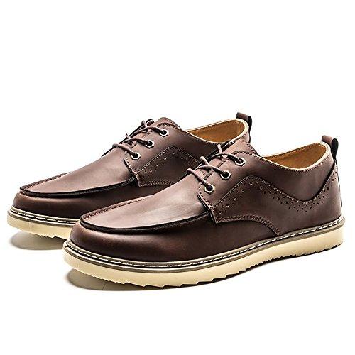 uomo Marrone piatto piatte Mocassini stile e con shoes Scarpe 2018 casual tacco Hongjun inglese stringate vx76Pp0